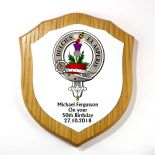 Scottish Clan Badge Shield Plaque Oak Veneer 7 inch PERSONALISED, ref CBOP